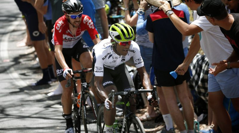 Nic Dlamini hammering with Thomas de Gendt in the Santos Tour Down Under, on his way to winning the best climber jersey.
